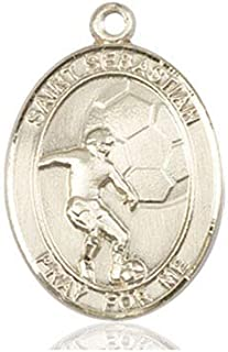 DiamondJewelryNY 14kt Gold Filled St Sebastian//Tennis Pendant