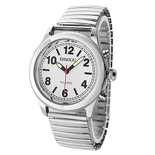 Reloj francés con parlante de plata para hombre y mujer con visión de la...