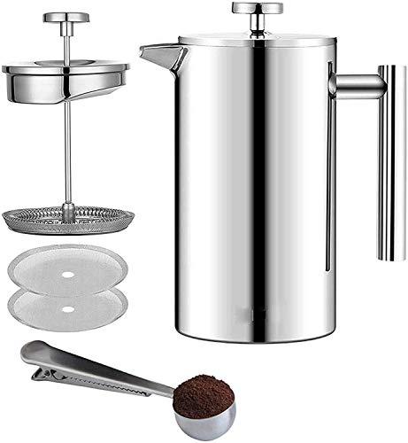 Jasinber Cafetera Prensa Francesa de Acero Inoxidable de Doble Pared, Incluye cuchara medidora de café y 2 filtros extra - (1000 ml)
