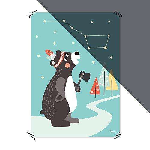 Julica Nachtleuchtende Bilder fürs Babyzimmer | Poster Kinderzimmer | Kinderbild Tiere | 50x70 cm (Bär)