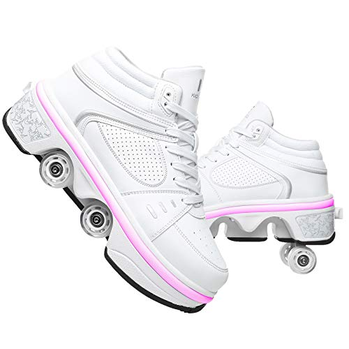 Rollschuhe Mädchen 4 Roller Skates Damen Skate Roller ,2-in-1- Skate Schuhe Sportschuhe Multifunktionale Deformation Schuhe Für Mädchen Unsichtbare Schuhe Fersenroller,White-EUR36