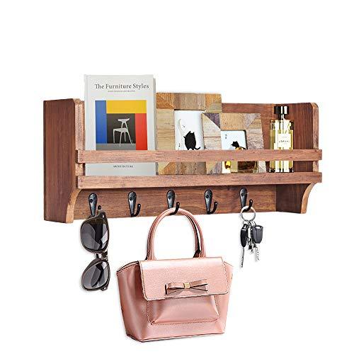 "Wooden Storage Key Hook, Key Hanger Mail Holder for Wall, Decorative Key Shelf Organizer for Entryway, Bedroom, Living Room, Kitchen-16""x6"""