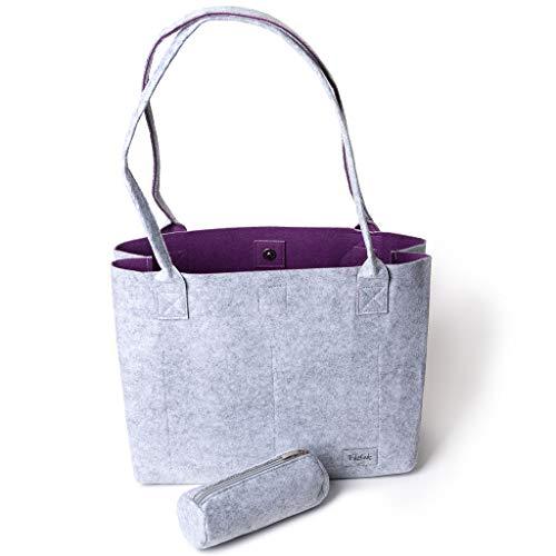 Handtasche Damen Shopper Greta Einkaufstasche Damen Filztaschen Shopper groß Schultertasche Tragetasche - Grau & Violett (15L)