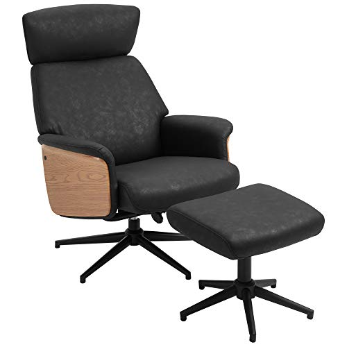 HOMCOM Fabric Swivel Recliner Chair with footstool Metal Base Wood Armrest Black