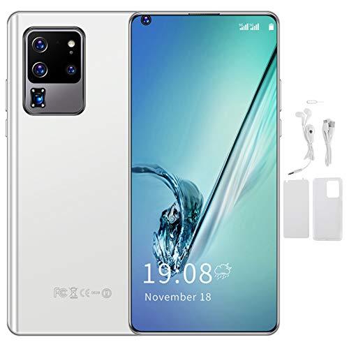 Teléfono móvil de Doble Modo de Espera de 2 GB + 16 GB con Doble Tarjeta, resolución de 540 x 1200 y 128 GB de Almacenamiento Ampliable, batería de Iones de Litio(White)