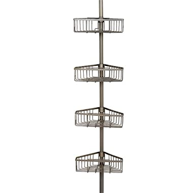 Zenna Home 2131NN, Tension Corner Pole Caddy, Satin Nickel