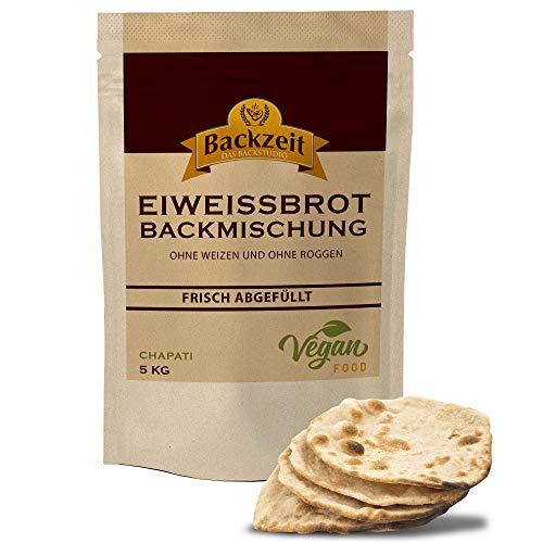 Eiweißbrot Backmischung Chapati ohne Weizen und Roggenmehl - frisch abgefüllte 5 kg XXL Vorratspackung in Deutschland hergestelltes Diabetikerbrot mit 90 % weniger Kohlenhydraten als Brot