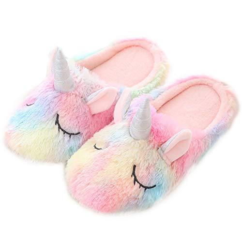 JPYH Zapatillas de unicornio,Zapatillas de Unicornio Arcoiris Invierno Otoño Zapatillas de Animales Zapatos Mullidos Zapatos de Casa Holgazanes Suaves 36/37 yardas