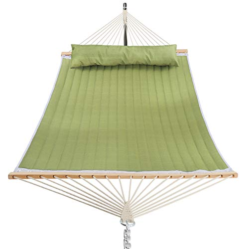 Patio Watcher 11 Feet Quilted Fabric Hammock with Pillow, Double Hammock with Bamboo Wood Spreader Bars, Perfect for Outdoor Patio Yard, Lime Green