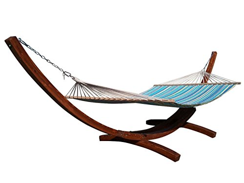 Petra Leisure, 14 Ft. Water Treated Wooden Arc Hammock Stand + Premium Quilted, Double Padded Hammock Bed. 2 Person Bed.450 LB Capacity(Teak Stain/Teal & Yellow Stripe)