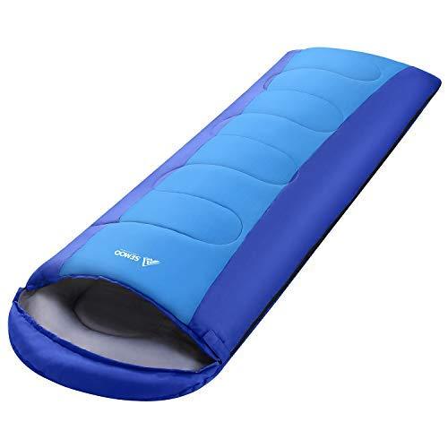 Semoo Schlafsack, tragbar, leicht, wasserabweisend, Komfort 3-4 Jahreszeiten, Schlafsäcke mit Kompressionssack, Rucksackreisen, Camping, Wandern, blau