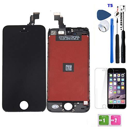MUNDDY Pantalla Completa Display Retina Compatible para iPhone con Herramienta y Protector de Cristal 。 (para iPhone 5c, Negro)