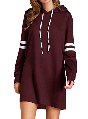 Flying Rabbit Damen Langarm Sweatshirt Damen Hoodie Kapuzenpulli Damen Langarm Kapuzenpullover Oversize Sport Casual Hoodie Mini - Kleid Herbst Sweatshirts , Farbe Rotwein , Gr.L