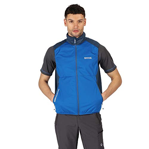 Regatta Men Lankin III' XPT Stretch Lightweight Wind Resistant Water Repellent Softshell Gilet Outdoors Summer Jacket, NauticalBlue/DarkDenim, L