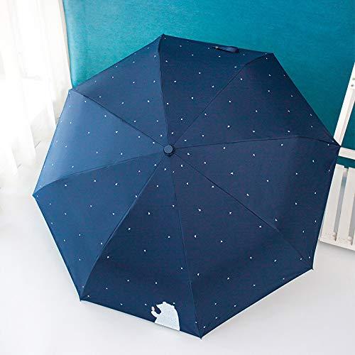 GYHJG Regenschirm Automatisches Öffnen Und Schließen Des Regenschirms Kleiner Frischer Sonnenschirm Weiblicher Bär Dreifach-Sonnenschirm Schirm Aus Schwarzem Kunststoff