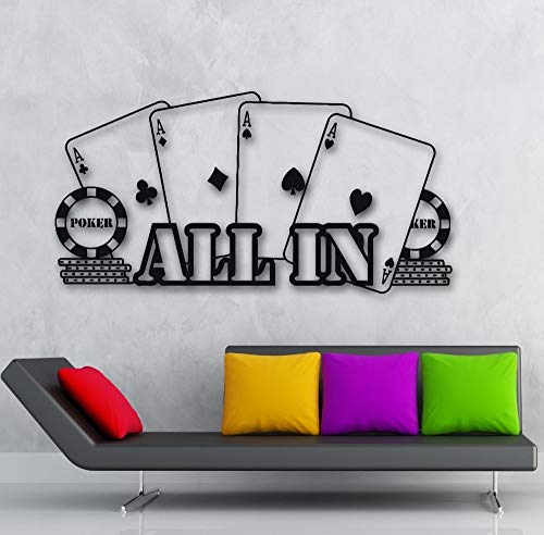 wopiaol Muur Vinyl Stickers Poker Casino All In Player Gambler Kaarten Wanddecoratie Modern design