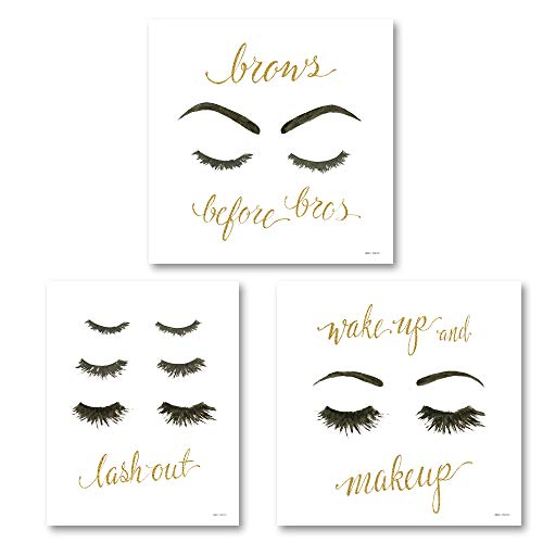 The Studio Resource, Inc. Glam Girl Power Brows Before Bros' 'Wake Up and Make Up' and 'Lash Out' Inspirational Beauty Set; Two 12x12in and One 11x14in Unframed Paper Posters
