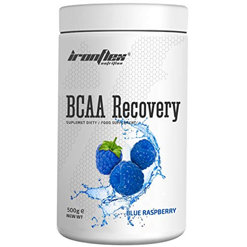 IronFlex BCAA Recovery - 1 Pack - Branched Chain Amino Acids in Powder - Muscle Regeneration - Anticatabolic - with Glutamine (Blue Raspberry, 500g)