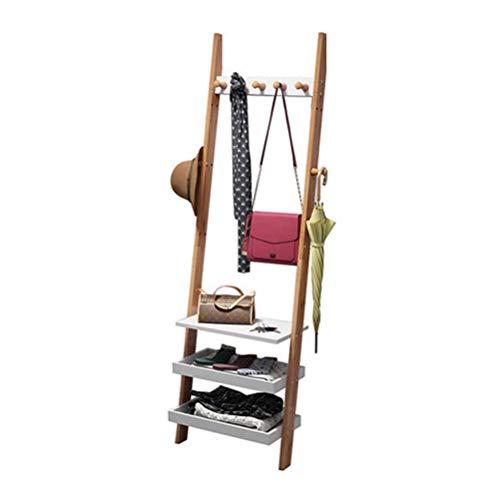 QNN Perchero, Perchero Blanco Creativo Perchero de Piso a Pared Perchero de Esquina Perchero de Dormitorio Perchero de Bambú Moderno Simple