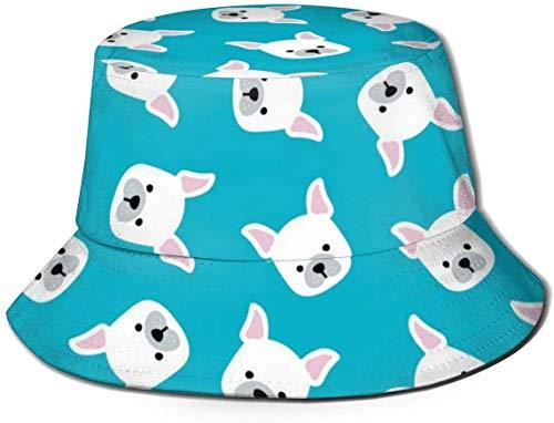 Sombreros de cubo transpirables con parte superior plana Unisex Bulldog francés Calcetín de Navidad Sombrero de cubo de Navidad Sombrero de pescador de verano-Cabezas de Bulldog francés-Talla única