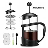 Covos French Press Coffee Maker 28oz(3.5cups/800ml) Coffee/Tea Maker with 4 Level Filtration,Heat Resistant Borosilicate Glass Carafe with Durable Handle, with Cleaning Brush & Measuring Spoon