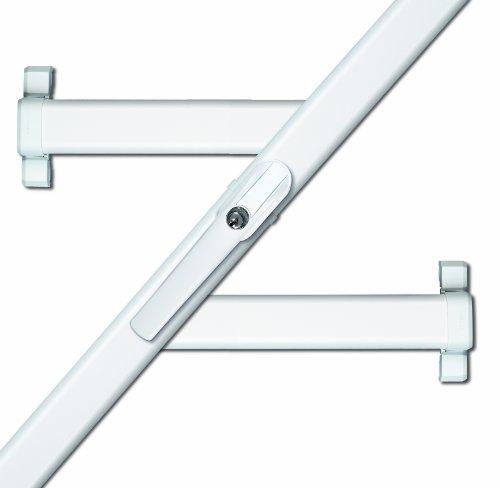 ABUS Fenster-Zusatzsicherung FOS550 AL0125 - Stangenschloss mit Druckzylinder, gleichschließend - Sicherheitslevel 10 - 31793 - weiß