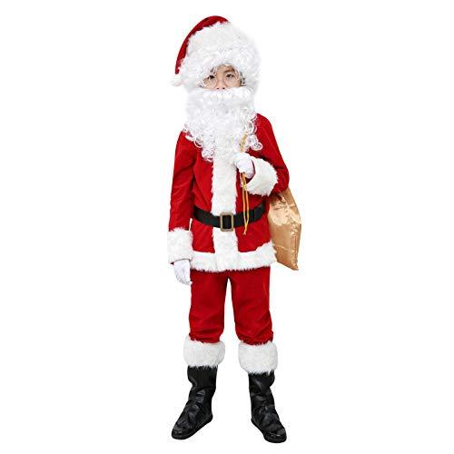 Elfjoy Children's Santa Suit Kids Christmas Halloween Costume Cosplay Set of 11 Pieces (Medium)