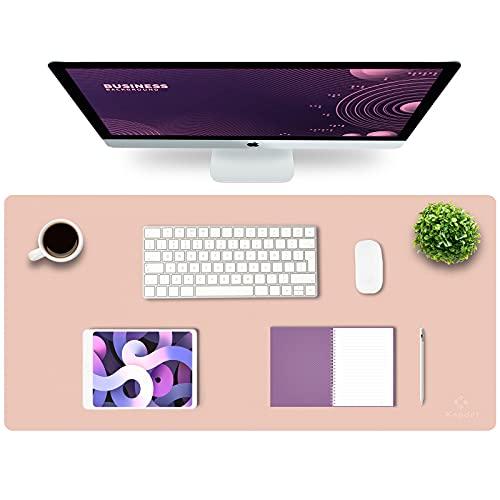 "Knodel Desk Pad, Office Desk Mat, 35.4"" x 17"" PU Leather Desk Blotter, Laptop Desk Mat, Waterproof Desk Writing Pad for Office and Home, Dual-Sided (Pink)"
