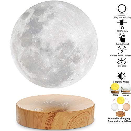 VGAzer Schwebende Mond Lampe,In der Luft frei schweben und spinnen mit hölzerner Basis und Mondlicht des Druck-3D,für einzigartige Geschenke, Room Decor, Nachtlicht, Schreibtisch Tech-Spielzeug