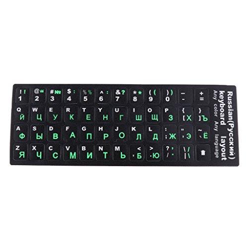 Cubierta Protectora para Teclado con Alfabeto Ruso Impreso Personalizado para 10-17 '' Portátil Laptop Notebook Tableta - Fondo Negro con Alfabeto Verde