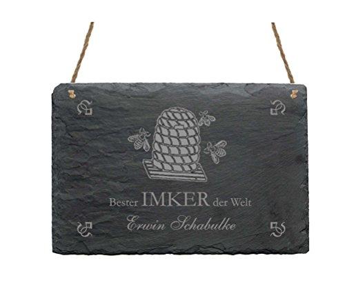 Leistenen bord « BESTER IMKER DER WERELD » bord met persoonlijke naam + motief bijenmand - deurschild Imkerei Bijen honing