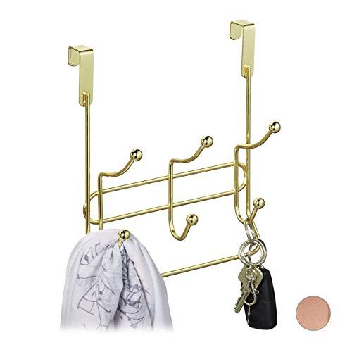Relaxdays Türgarderobe mit 3 Doppelhaken, edle Türhakenleiste zum Einhängen, Metall, HBT: 23,5 x 20,5 x 9,5 cm, Gold, 1 Stück