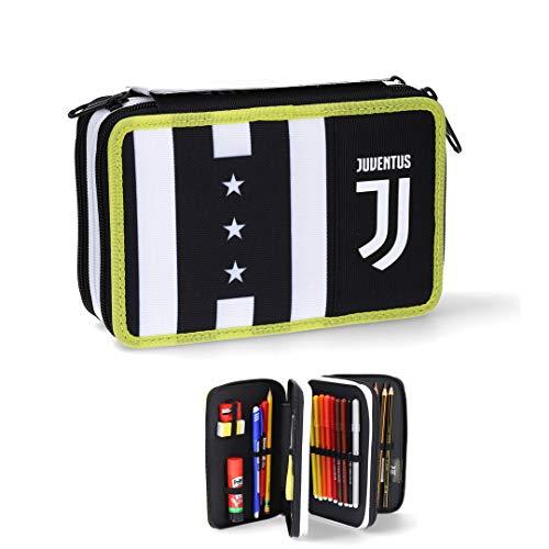 Juventus Astuccio Seven 3 Zip Completo di Cancelleria - Collezione Scuola 2020/2021-100% Originale - 100% Prodotto Ufficiale