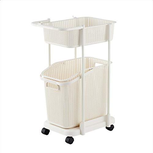 AINH Double-layer Plastic Laundry Basket With Wheels,Rolling Breathable Laundry Hamper,Portable Toy Clothing Storage Basket Household Beige 41x33x71.2cm(16x13x28inch)