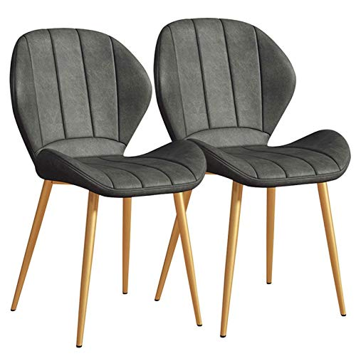 Modern Faux Leather Dining Chairs Set of 2, Back Padded Kitchen Chairs with Golden Metal Legs for Dining Room Living Room Office and Lounge (Color : Gray)