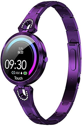 1,3 do kobiet Smart Watch Moda Stal Zegarek IP67 Wodoodporna Damska Bransoletka Krok Fitness Tracker na Androida/IOS, Fioletowy
