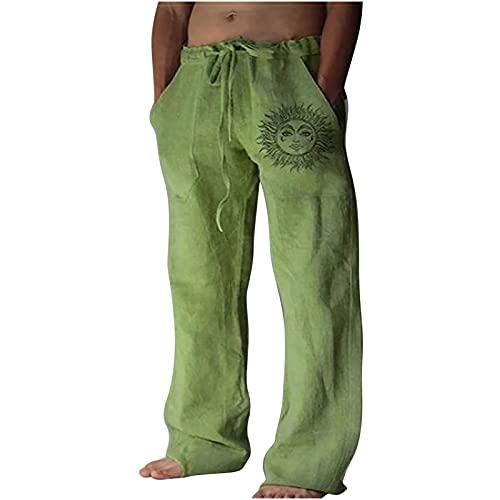Pantalón de Verano para Hombre de algodón y Lino, Pantalones Informales de Playa, Ligeros, cómodos Trekking Fitness Suelto Pantalones Yoga Casuales Pantalones de harén