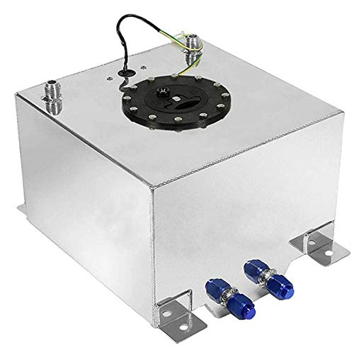 labwork 10 Gallon Aluminum Fuel Cell Gas Tank with Level Sender Inlet and Outlet Diameter 10 an (Silver)