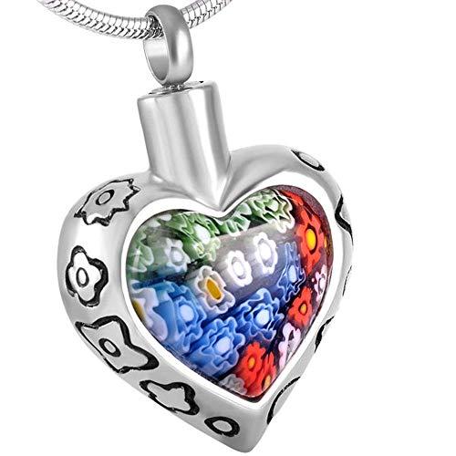 KBFDWEC Collar con Colgante de cremación conmemorativo de Recuerdo en Forma de corazón de Cristal Colgante de Collar de urna de Cenizas de Acero Inoxidable