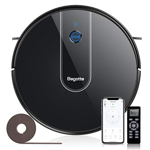 Robot Vacuum, Bagotte BG700 Robotic Vacuum Cleaner with Sweeping & Mopping, Wifi, Strong Suction Self-Charging, Super-Thin and Quiet Smart Vacuum Multi-Cleaning Modes Ideal for Pet Hair, Carpet, Floor