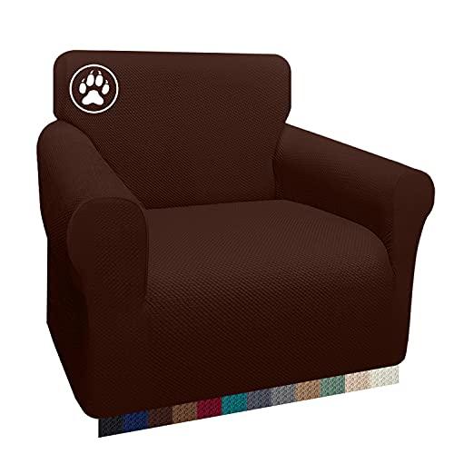 Luxurlife Dicker Sofabezug für 1-Sitzer, Stuhlhussen für Wohnzimmer, Jacquard-Sofa-Schonbezug für Haustiere, Kinder, Möbelschutz mit elastischer Unterseite (1-Sitzer, Schokolade)