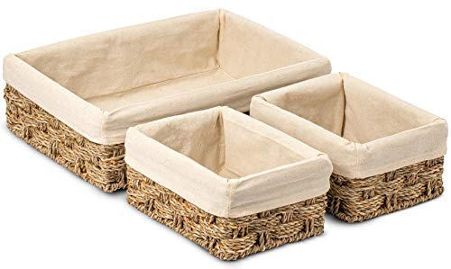 HOMESCAPE CREATIONS Woven Wicker Seagrass Tray Basket | Handmade Bathroom Kitchen...