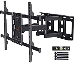 Perlegear Full Motion TV Wall Mount Bracket Dual Articulating Arms Swivels Tilts Rotation for Most 37-75 Inch LED, LCD, OLED Flat&Curved TVs, Holds up to 132lbs, Max VESA 600x400mm