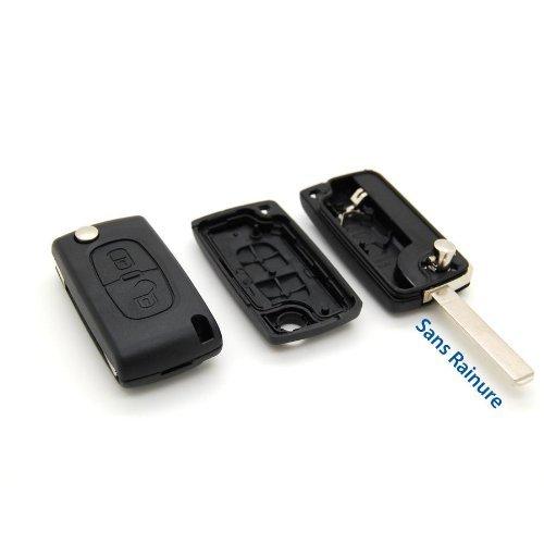 Coque clé plip télécommande 2 boutons Citroen C1 C2 C3 C4 C5 sans rainure