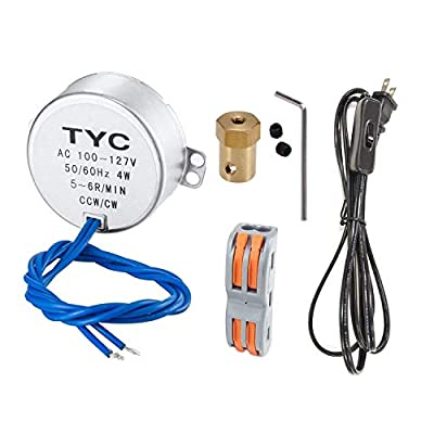 Turntable Synchronous Synchron Motor 50/60Hz AC100~127V CCW/CW 4W with 7mm Flexible Coupling Connector Direction for Cup Turner, Cuptisserie,Tumbler Cup Rotator,Drying the epoxy,Rod Dryer