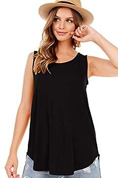SHOP DORDOR 9052 Women s Soft Jersey Knit Scoop Neck Sleeveless Loose Tank Top Black L