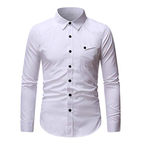 Yowablo Chemise Homme Slim fit T-Shirt à col Rabattu à Manches Longues et à la Mode (L,Blanc)