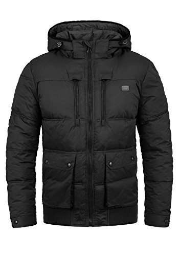 Blend Rave Herren Winter Jacke Steppjacke Winterjacke gefüttert mit Kapuze, Größe:XXL, Farbe:Black (70155)