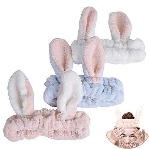 3pcs conejo oído Hairlace facial diadema maquillaje banda de pelo coral polar banda de pelo facial para lavar la cara ducha deportes belleza