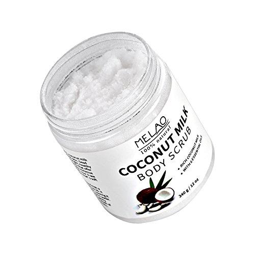 Gommage pour le corps au lait de noix de coco - Crème exfoliante éclaircissante - Gel exfoliant pour le visage - 340 g
